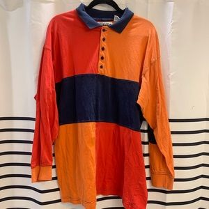 Vintage 90s color block rugby polo